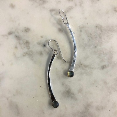 Labradorite Hammered Curved Bar Earrings