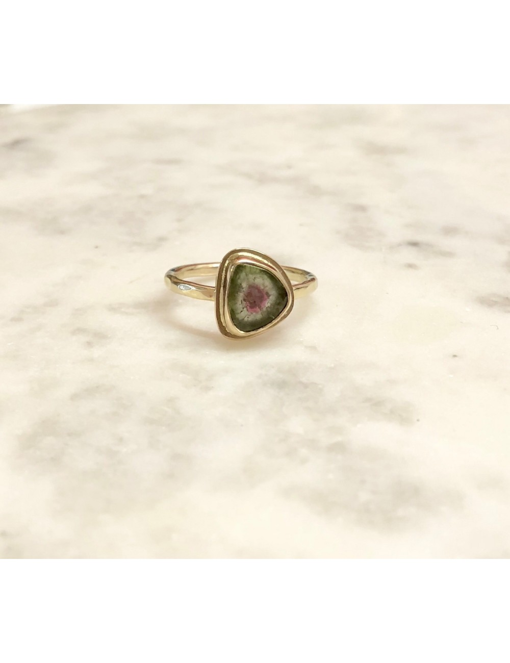 Strawberry Kiwi Tourmaline Ring