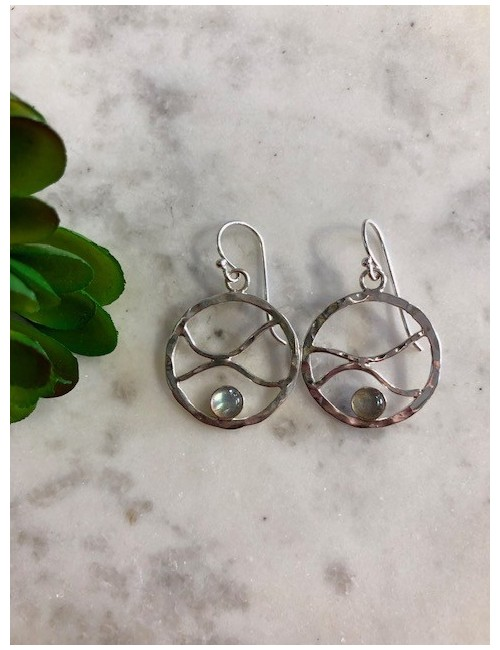 wave hoops with labradorite