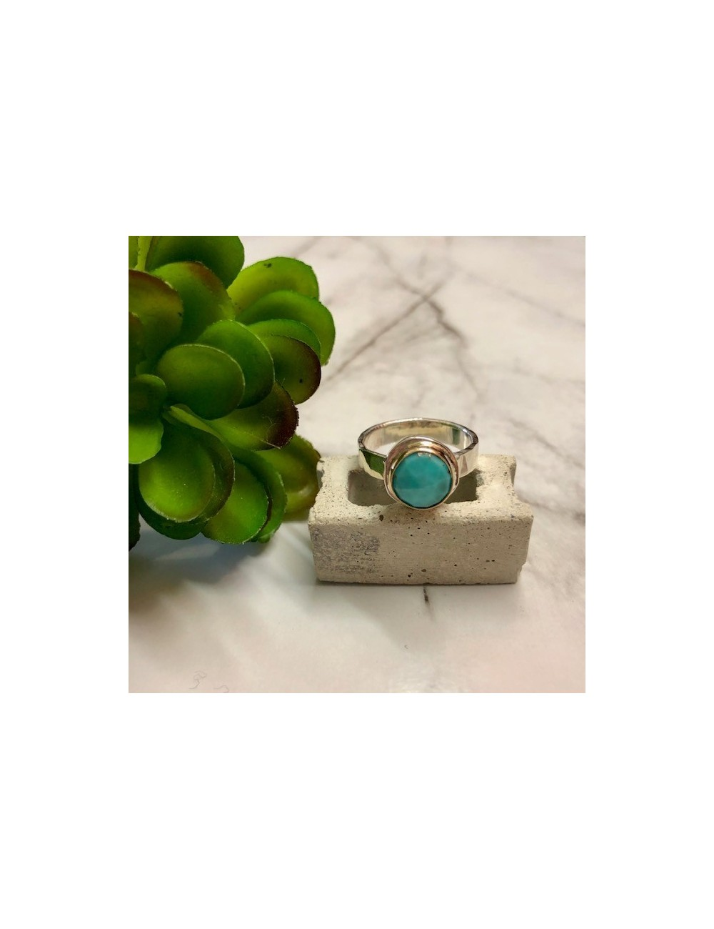 ROUND ROSE CUT TURQUOISE RING