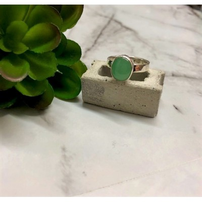 Silver Chrysoprase circle chunk ring