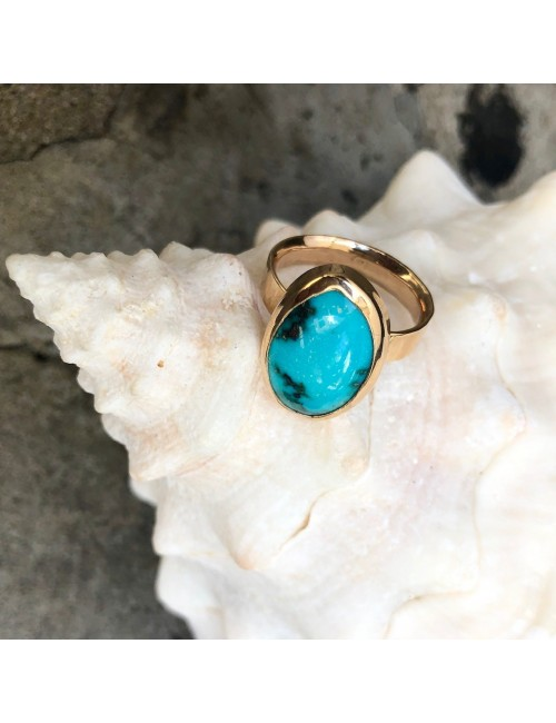 Golden Turquoise oval ring