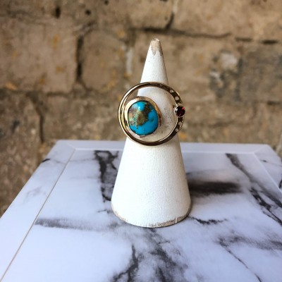 Sol y Luna Turquoise and Fire Citrine Ring