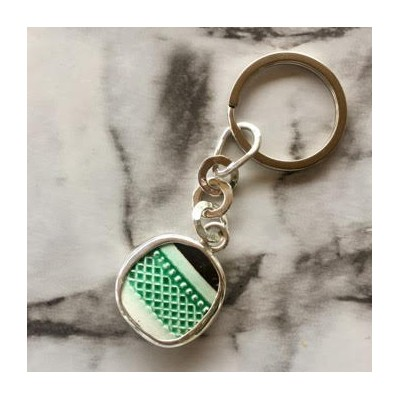 Green lattice chaney keychain