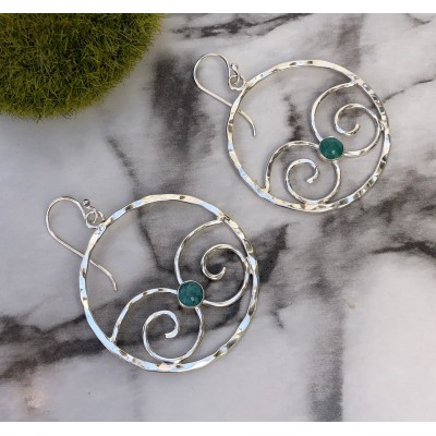 TURQUOISE DOUBLE SPIRAL HOOPS