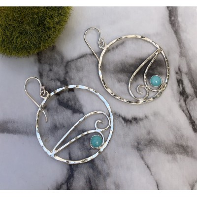 AMAZONITE DOUBLE WAVE HOOPS
