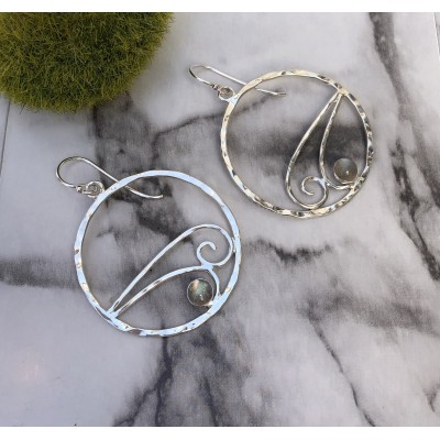 LABRADORITE DOUBLE WAVE HOOPS