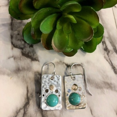 FUNKY RECTANGLE TURQUOISE EARRINGS