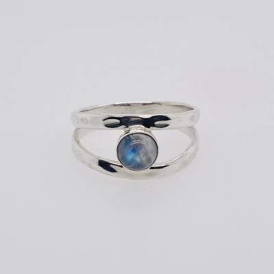 Rainbow Moonstone Split Shank Ring