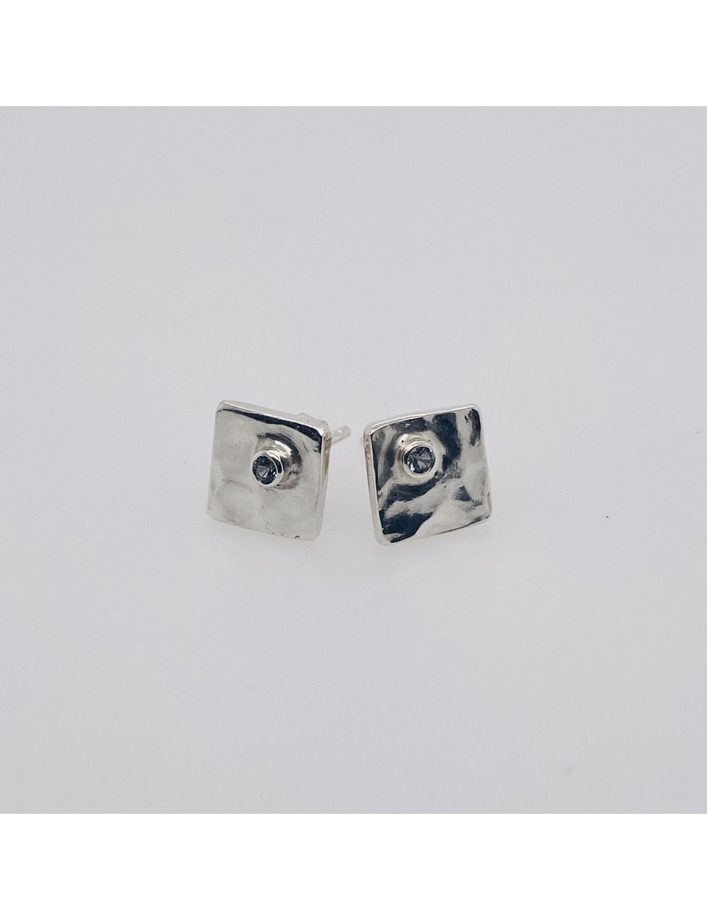 Square Stud with Stone
