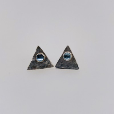 Blue Topaz Triangle Studs