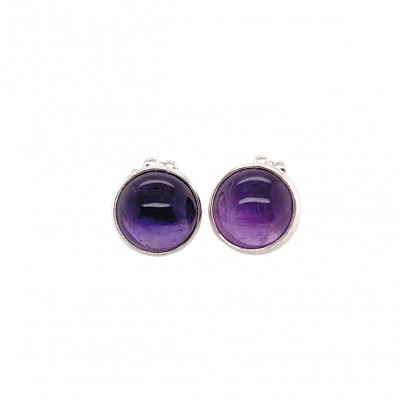 Round Amethyst Post Earrings