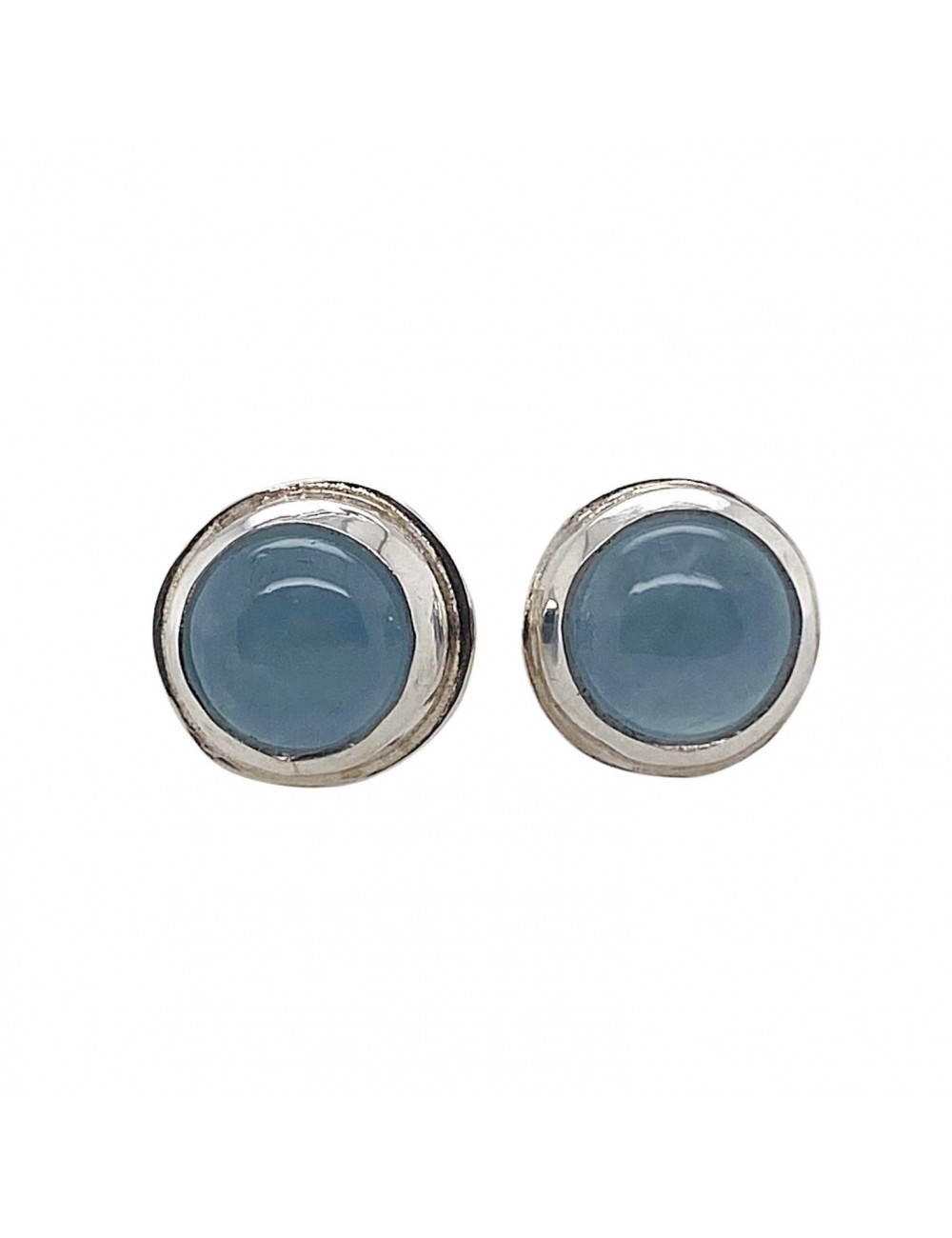 ROUND AQUAMARINE POST EARRINGS